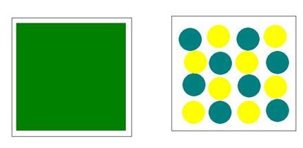 Особенность струйной печати заключается в том, что каждая точка на бумаге может иметь только цвет используемых чернил; все прочие цвета и оттенки появляются в результате процесса растрирования