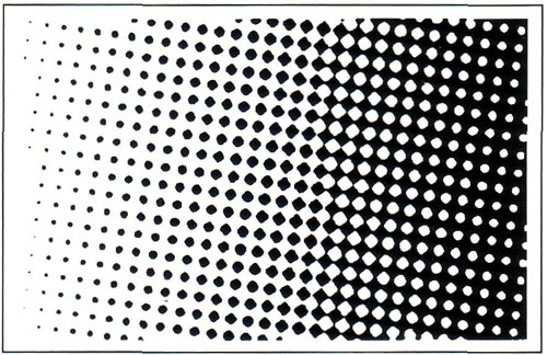 Передача полутонов монохромного изображения при помощи изменяющегося размера точек