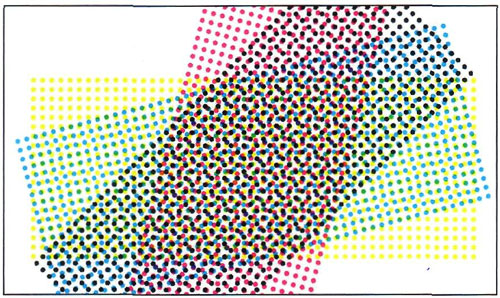 Характерная розеточная структура, образованная точками разным цветов при совмещении растров