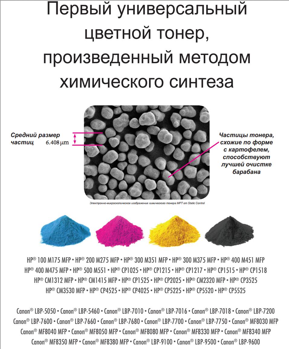 универсальный тонер для цветных лазерных принтеров HP/Canon