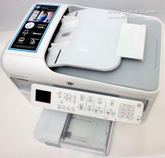 HP Photosmart Premium c309a. Вид сверху с установленным раскрытым держателем автоподатчика
