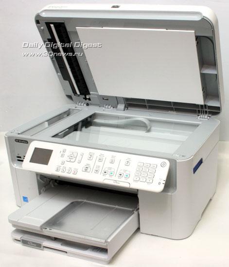 HP Photosmart Premium c309a. Вид общий. Открыта крышка модуля сканера