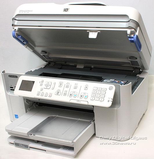 HP Photosmart Premium c309a. Вид общий. Поднят модуль сканера