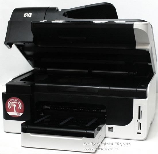 HP Officejet Pro 8500 Wireless (a909g). Вид общий с открытыммодулем сканера