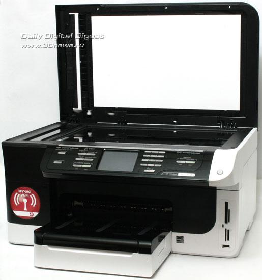 HP Officejet Pro 8500 Wireless (a909g). Вид общий с открытойкрышкой сканера