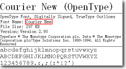 TrueType-шрифт Courier New