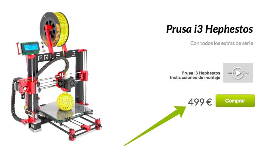 Цена на 3D-принтер Prusa i3 Hephestos в России и Европе