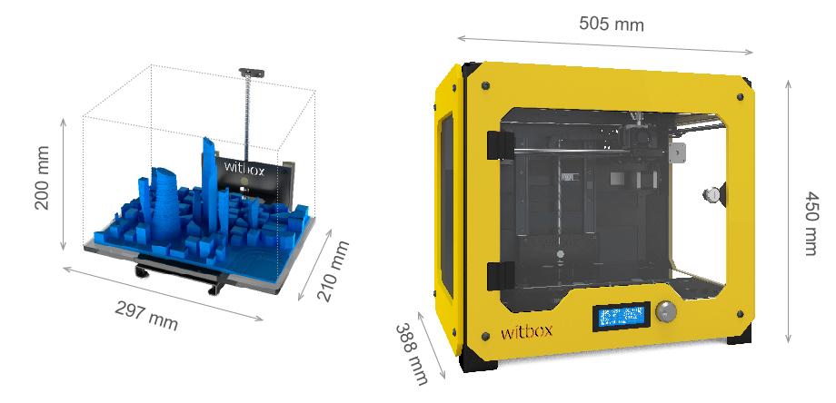 размеры принтера bq Witbox